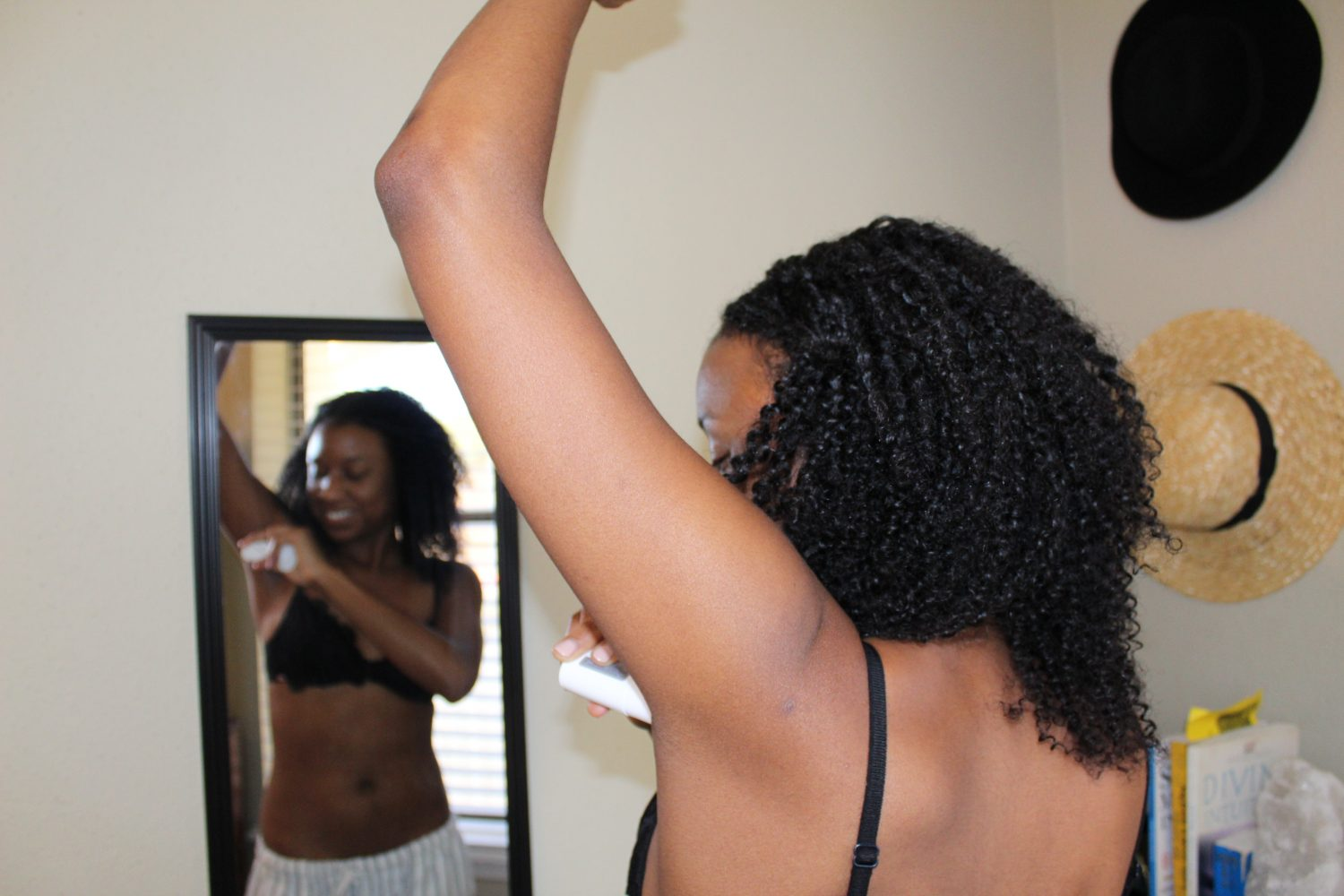black woman in mirror