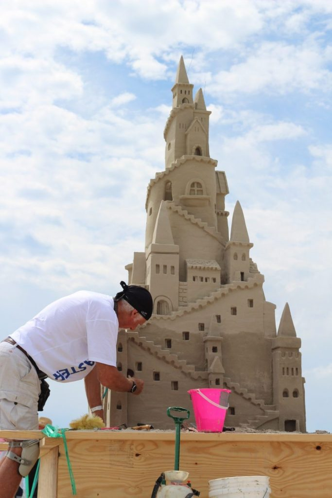 man building castle