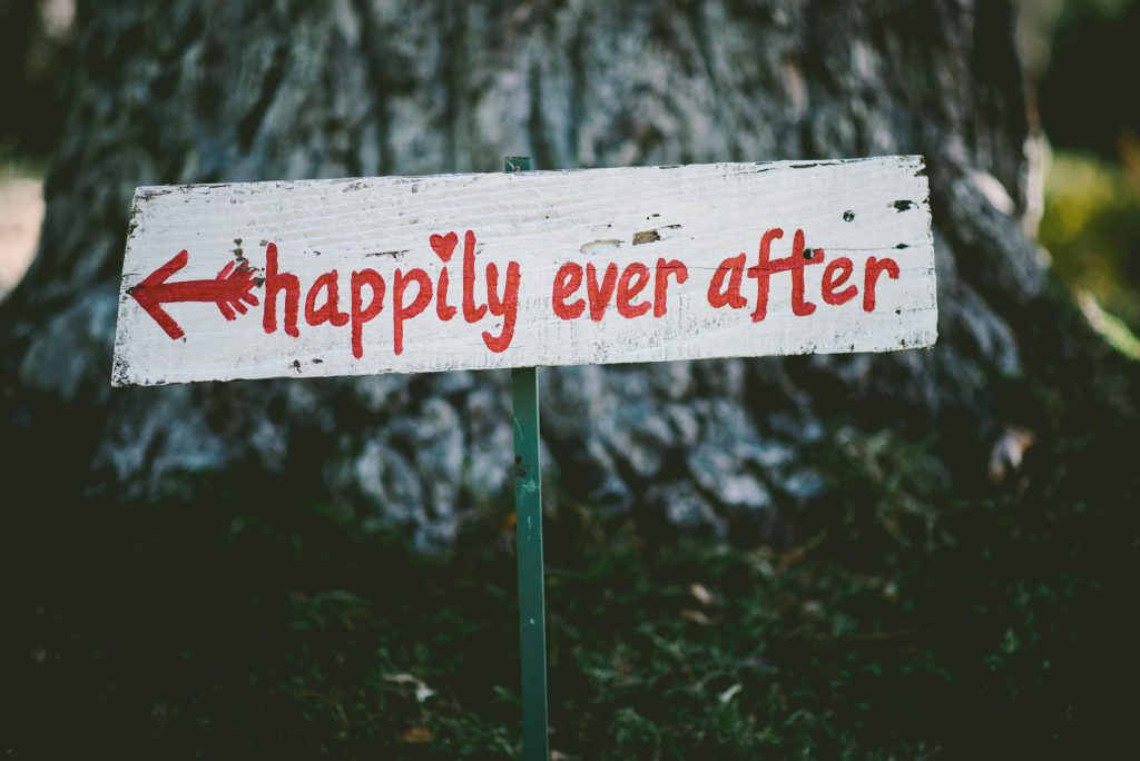 sign that says happily ever after