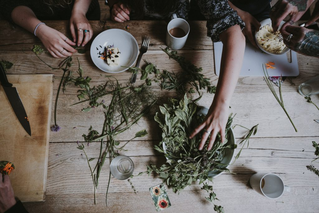 a table of dried herbs