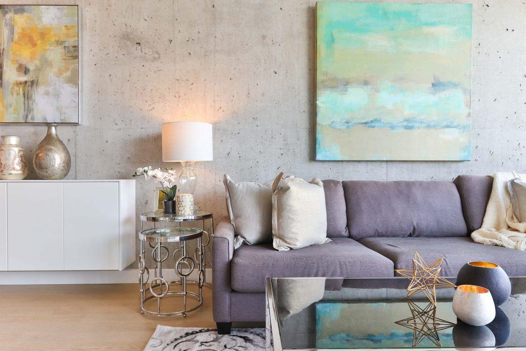 cosmopolitan living room with grey walls