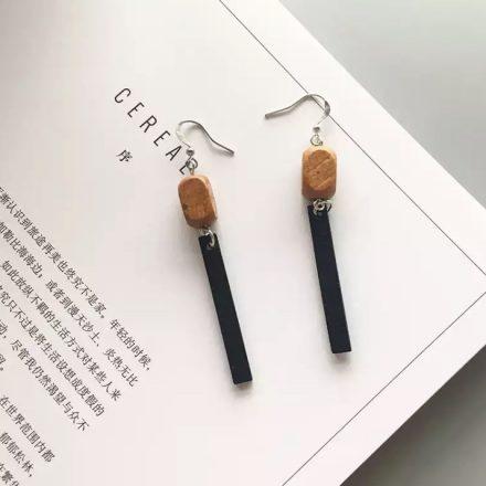 Wood Geometric Drop Earrings