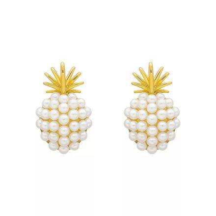 Classic Stud Earrings Pineapple Pearl Earrings