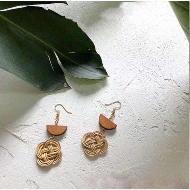 wicker drop earrings