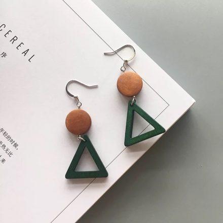 Retro Wood Geometric Earrings