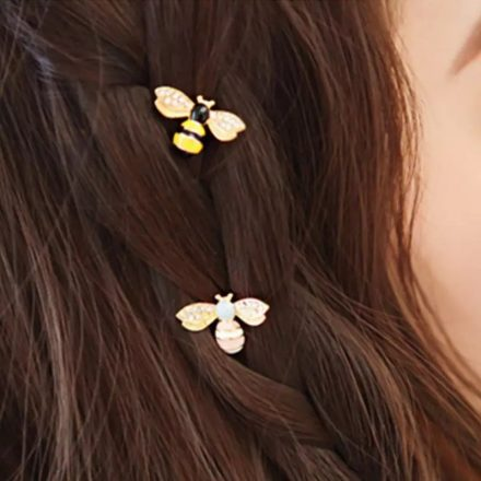 honey bee hair pin in hair
